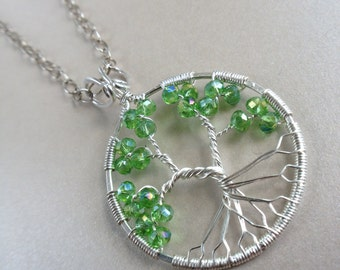 Peridot Tree of Life Necklace Pendant August Birthstone