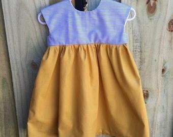 Mustard and Denim Stripe Dress