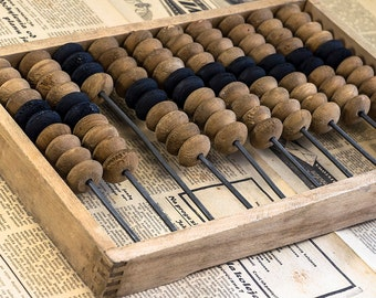 10% OFF Wooden Abacus. Vintage wooden abacus Russian or Polish old wooden toys. Old wooden toys. Old abacus. Old calculator. Home Decor.