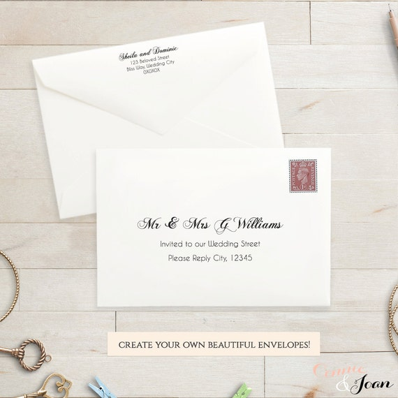 Printable Wedding 5X3.5 Envelope Template Rsvp Envelope.