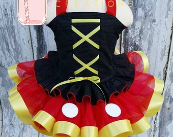 Mickey Mouse Inspired Tutu outfit, RTS. Sewn Tutu, Ribbon Tutu, Birthday Outfit, Pageant Outfit, Toddler Tutu, Photo Prop, CPSC Compliant