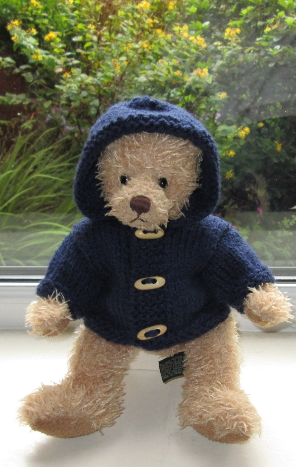 Knitting Clothes For Teddy Bears : Teddy bear clothes outfit hand knitted navy blue hooded aran