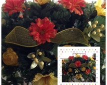 Mother's Day | Orange and Yellow Cemetery Flowers | Headstone Saddle Decorations on Etsy - 205 | Door Wreaths By Trina