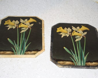 vintage hot pad with dafodils