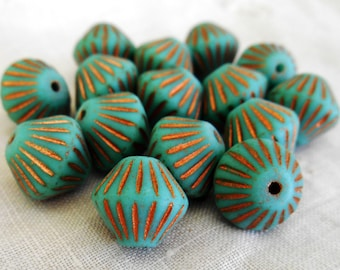 Five 11mm x 10mm Matte Turquoise, Aqua Blue, Copper accents bicone, carved, chunky, rustic pressed glass Czech beads, C5601