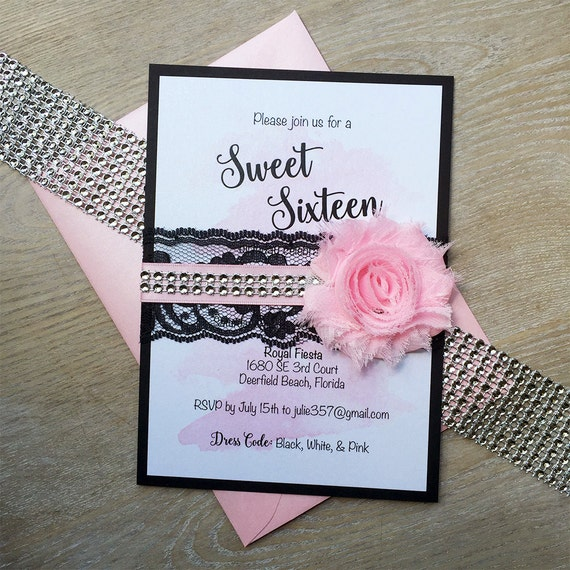 WHITNEY - Black and Pink Watercolor Sweet Sixteen Invitation - Black Lace Band with Pink Ribbon, Pink Chiffon Flower, and Rhinestones
