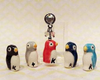 Penguin Cell Phone Charm, Handmade Cell Phone Dust Plug, Cell Phone Charm