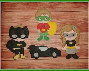 Felt Bat Costume Super Hero Set - Pretend Quiet Toddler Play - Non Paper Doll NPD Car