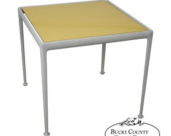 Richard Schultz Knoll Vintage Yellow Enameled Metal Top White Dining Table
