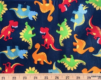 Dinosaur fabric by the yard fat quarter dino fabric navy for Kids dinosaur fabric