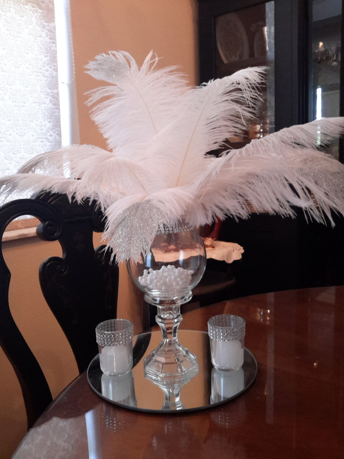 Great Gatsby Inspired Ostrich Feather Glitter Tip Centerpiece