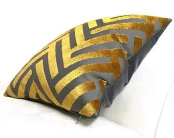 "Turmeric Gold Gray Geometric Chevron Zig Zag Cut Velvet Texture Pillow Cover, Fits 12x18 14x20 16x26 16"" 18"" 20"" 22"" 24"" Cushions"