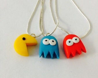 Retro Pac man handmade necklace on silver plated chain. Great Vintage. Cute and kitsch. FREE UK SHIPPIING