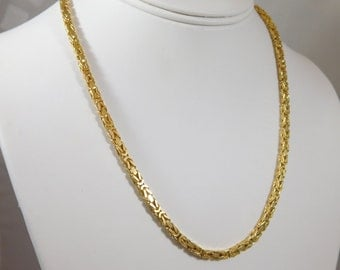 14kt Yellow Gold 3.25 mm, 18-inch Byzantine Chain