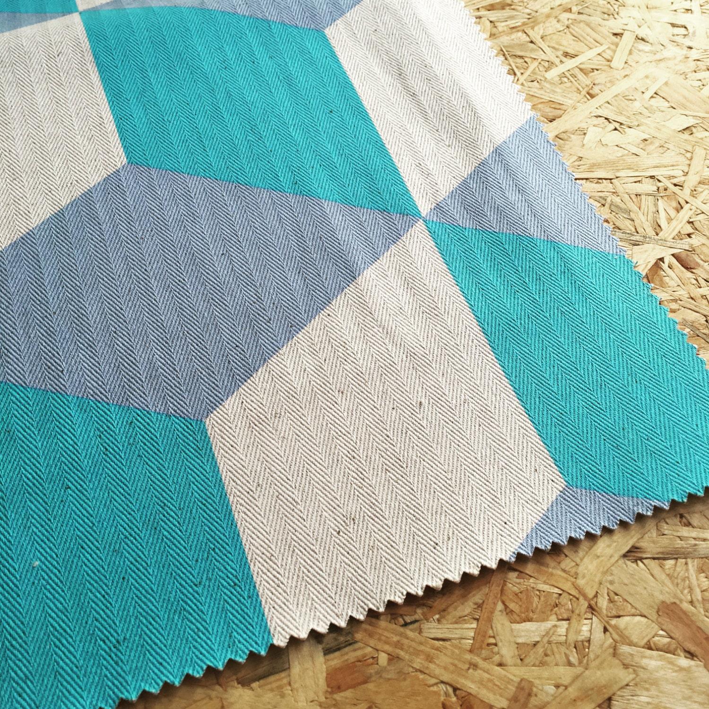 Upholstery fabric geometric design fabric home decor aqua blue - Korla Cubes Turquoise Fabric Geometric Fabric Upholstery Fabric Cotton Fabric Cubes Fabric Curtain Fabric Modern Home Decor
