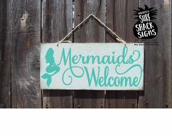 mermaids welcome sign, mermaid decor, mermaid sign, mermaids welcome, beach sign, beach house decor, mermaid decoration, mermaid gift, 244
