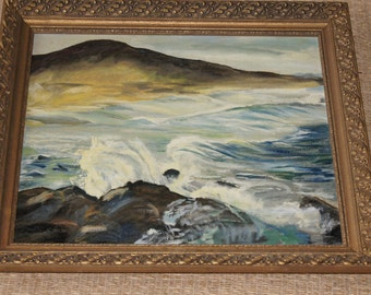 Vintage 1940's- oil painting of mountains and the crashing sea with waves Landscape 29x26 Framed