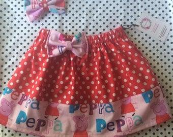 Polka dot Peppa Pig Skirt with matching clip