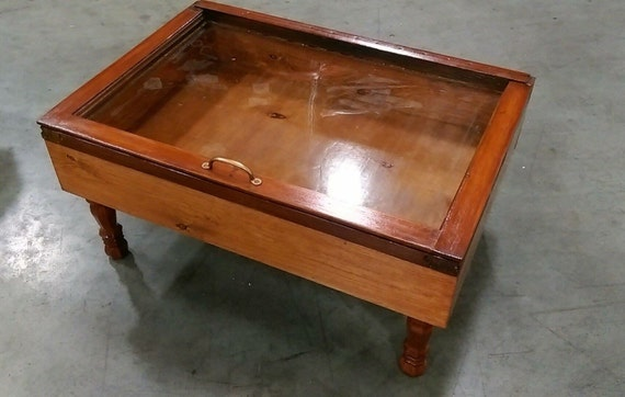 Wood Shadow Box Coffee Table Military Display Case Walnut