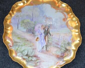 Limoges Porcelain Charger Plaque JPL Jean Pouyat Art Nouveau Period Hand Painted French Decor