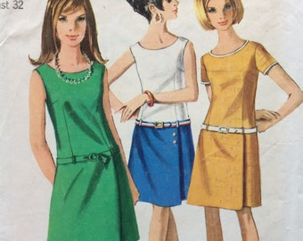 Simplicity 7078 vintage 1960's misses low-waisted dress sewing pattern size 12 bust 32