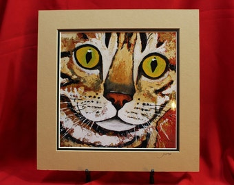 Tabby Cat Print, Tiger Striped Cat Matted Print. Abstract Tiger Cat Matted print, Printed From original cat painting