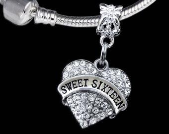 Sweet sixteen gift Sweet 16 charm fits european style bracelet Sweet sixteen jewelry Sweet 16 charm