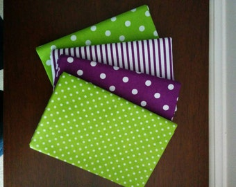 Fat Quarter Set, Lime Green and Purple