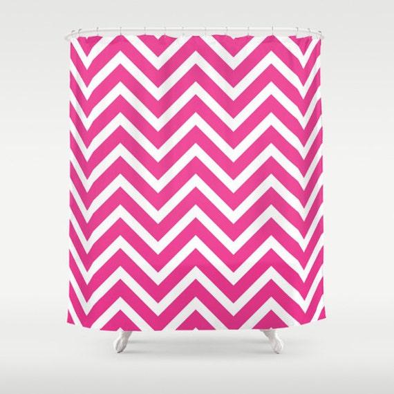 Bright Pink Shower Curtain Chevron Bathroom Decor Girls Shower Curtain