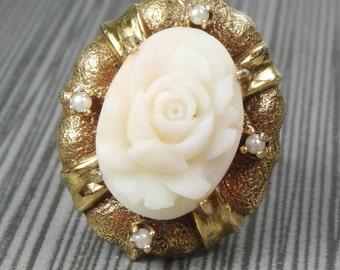 Vintage Ring Carved Angel Skin Coral Ring 14k Gold Cultured Pearl Ring Large Carved Pink Coral Pearl Rose Ring Cultured Pearl Ring Floral