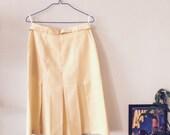 Lemon Yellow Pleated Vintage Midi Skirt with Yellow Belt - St Michaels
