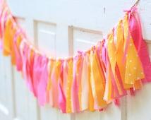 Lemonade Summer Birthday Pink and Yellow Birthday Party Fabric Rag Tie Ribbon Garland Banner Wedding Baby Shower Photo Lemon Sweets Table