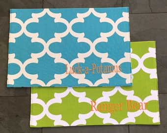Personalized Pet Placemat    Blue Quatrefoil Dog Food + Water Bowl Mat    Custom Puppy Gift Feeding Station by Three Spoiled Dogs