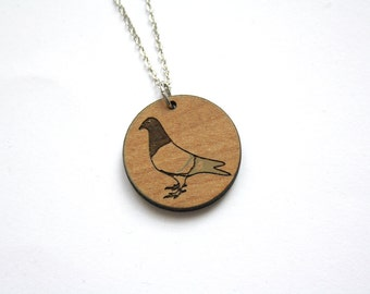 Wood bird necklace, graphic animal shape engraved, natural nature jewel, forest boho bohemian style, man woman, unisex, made in France Paris