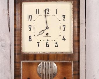 Vintage USSR Soviet Mechanical Wall Clock Jantar, Wood Case, Pendulum Soviet Clock, Pendulum Collect, Mechanical Wall Clock, Working