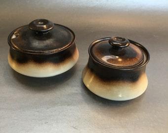 Sets of 2 Rare Vintage MCM Mancioli Italy Porcelain Condiment Serving Bowls