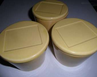Three Yellow Vintage Lidded China Canister Containers by KRAFT