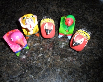 Vintage Set of 5 Quirky Napkin Rings in Paper-Mache