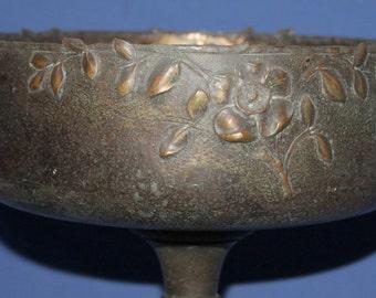 Antique Metal Floral Pedestal Bowl