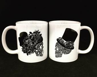 Coffee mug, Coffee cup, Sugar skull, Couples coffee cups, Couples coffee mugs. His and hers, Couples gift, Coffee, Coffee lover