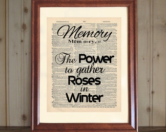 Memory Dictionary Print, Memory Quote, Memory Definition, Dictionary Print, Quote about Aging, Memory Print on 5x7 or 8x10 Canvas Panel
