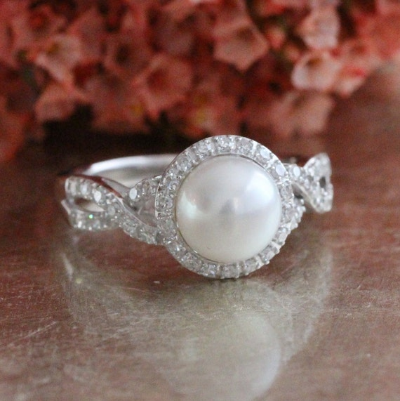 Diamond And Pearl Engagement Rings: Halo Diamond Pearl Engagement Ring In 10k White Gold Infinity