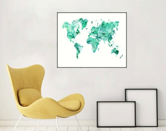 World Map Printable Watercolor World Map Large World Map Poster World Map Poster Colorful World Map Gift World Map Art - Printable