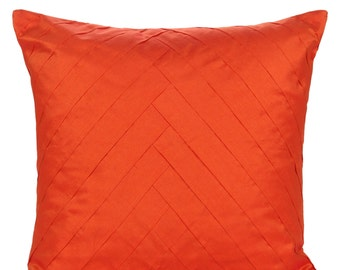 Solid Orange Pillow Cover Pleated Throw Orange Accent Pillow Solid Orange Euro Sham 14x14 16x16 18x18 20x20 22x22 24x24 26x26