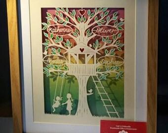 Custom made personalised family tree framed papercut
