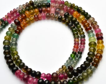 Natural Gem Super Quality Multicolor Tourmaline Smooth 4 to 6MM Rondelle Beads 16.5 Inch Full Strand Top Quality Beads Complete Necklace