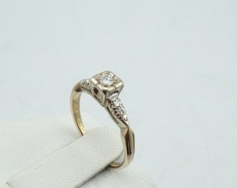 1950's Vintage Diamond Engagement 14K Gold Ring  #MIDCER-GR4
