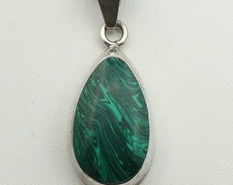 Vintage Malachite Sterling Silver Pendant. 20 Inch Sterling Silver Chain Included! #MALACH-SPC1