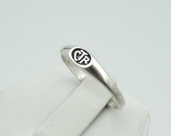 Vintage Sterling Silver CTR Oval Ring #SLVCTR-L