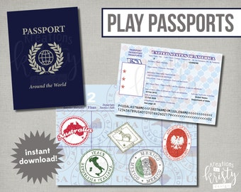 Play or Pretend Passports with selected country stamps, Digital File, Instant Download